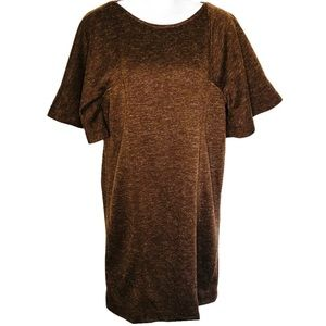 Uncle Frank Bat Wing Sleeve Shift Dress Brown XS